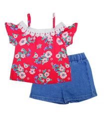 -GIRLS PINK Printed Top With Lace And Denim Shorts