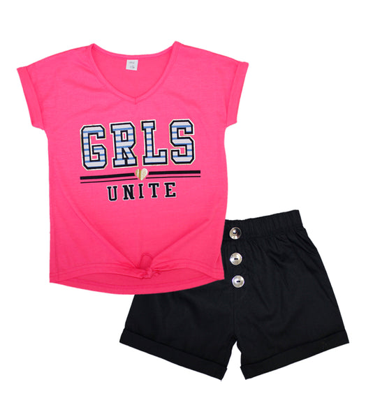 -GIRLS PINK Fuchsia GRLS UNITE Screen Top and Shorts