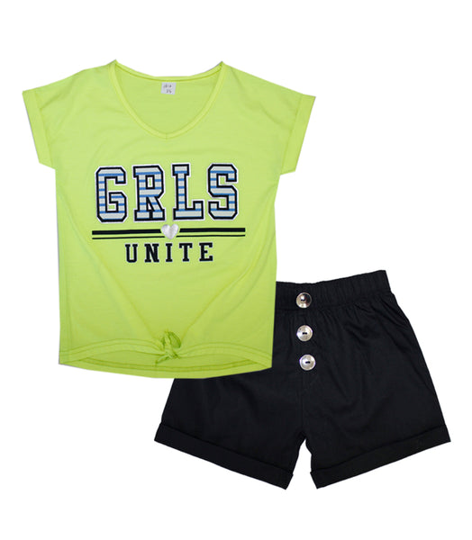 -GIRLS PINK Lime GRLS UNITE Screen Top and Shorts