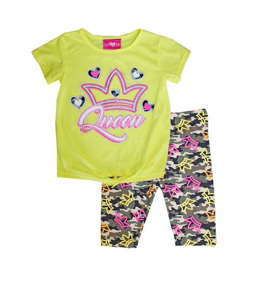 -GIRLS PINK Neon Green Queen Screen Tie Front Top with Biker Legging