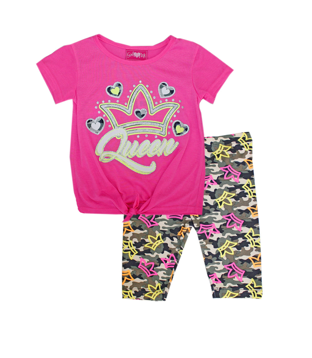 -GIRLS PINK Neon Pink Queen Screen Tie Front Top with Biker Legging