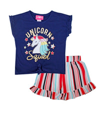 -GIRLS PINK Navy Unicorn Squad Screen Top And Crepe Shorts