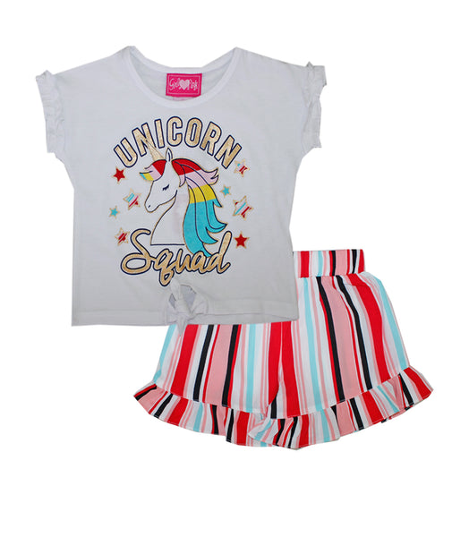 -GIRLS PINK White Unicorn Squad Screen Top And Crepe Shorts