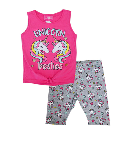 -GIRLS PINK Pink Unicorn Besties Top with Biker Legging