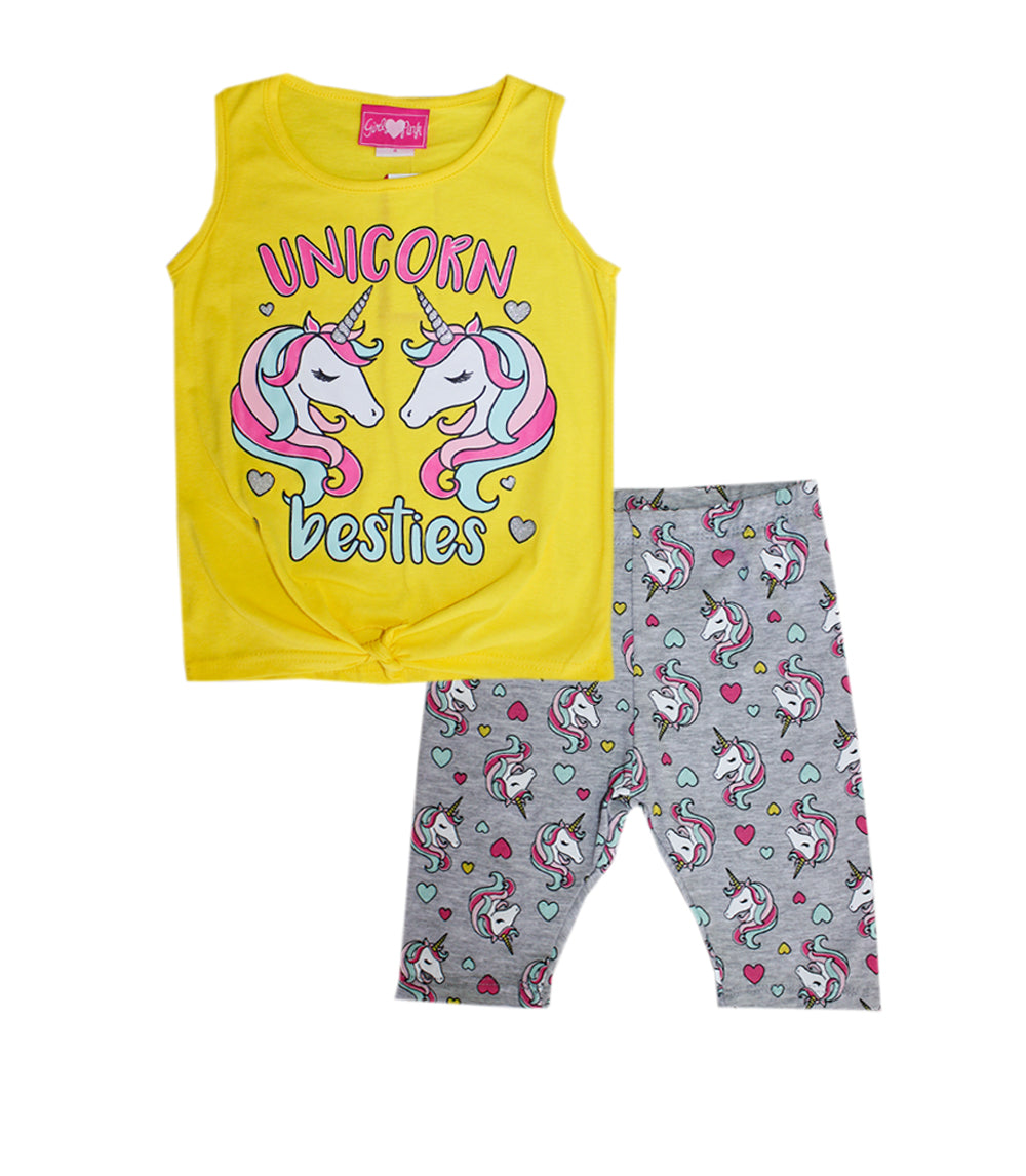 -GIRLS PINK Yellow Unicorn Besties Top with Biker Legging