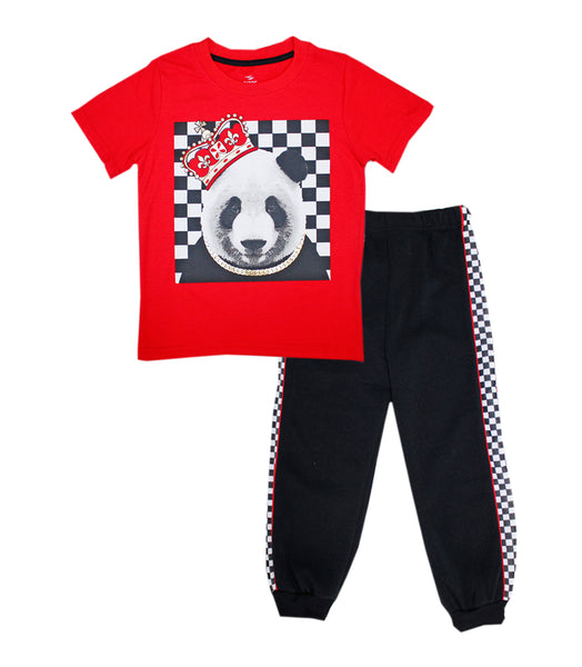 -S1OPE Boys Red Panda Screen Top with Jogger Pant