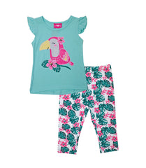 -GIRLS PINK Aqua Cute Parrot Glitter Screen Top with Legging