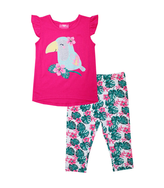 -GIRLS PINK Fuchsia Cute Parrot Glitter Screen Top with Legging