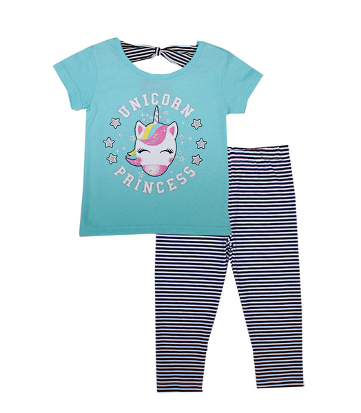 -GIRLS PINK Aqua Unicorn Screen Top with Legging