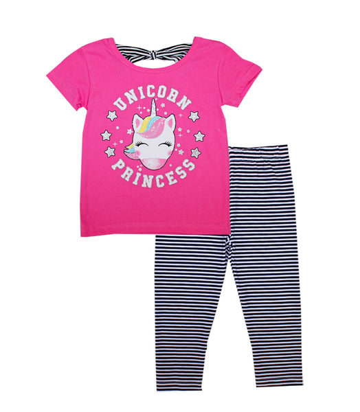 -GIRLS PINK Unicorn Screen Top with Legging