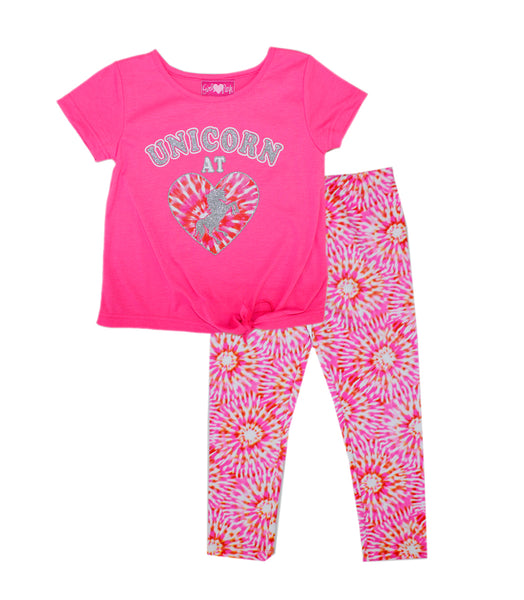 -GIRLS PINK  Unicorn At Heart Screen Tie Front With Legging