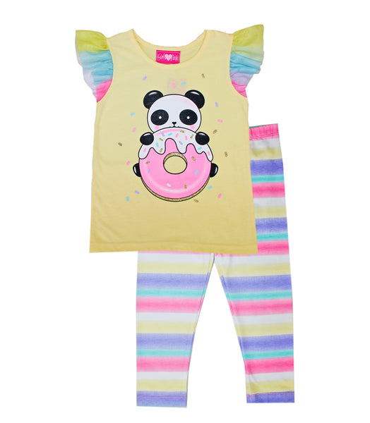 -GIRLS PINK Yellow Top with Donuts Panda Screen and Legging
