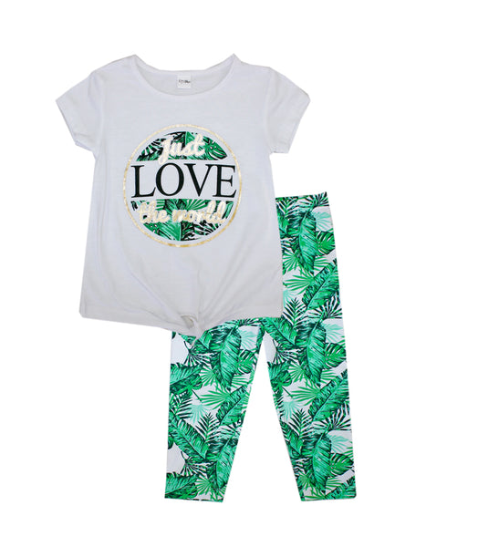 GIRLS PINK Love Screen with Tie Up Top and Leaf Print Legging
