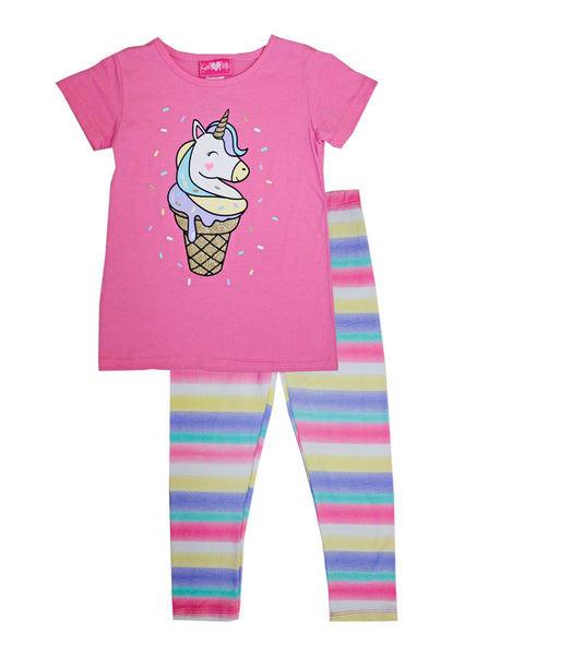 -GIRLS PINK Ice Cream Cone Unicorn Screen Top with Legging