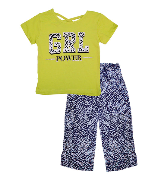 -GIRLS PINK Lime GRL Power Screen Top with Palazzo Pants