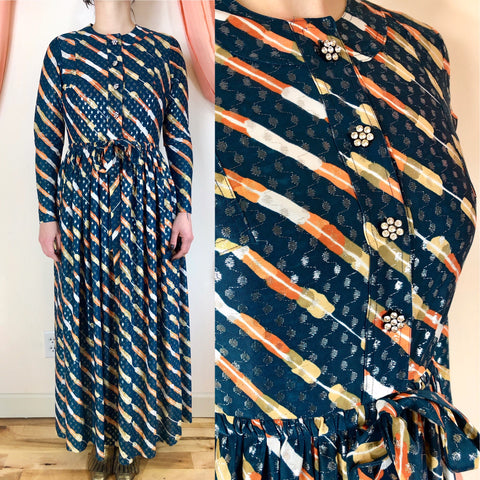 Rare 1970s couture maxi dress by Jean Varon aka John Bates with metallic threads and daisy rhinestone buttons