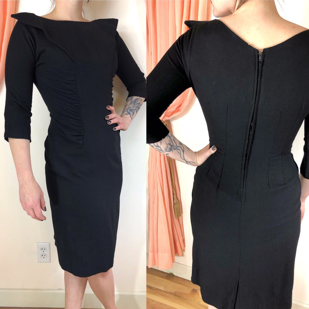 1950's Ruched Wiggle Dress