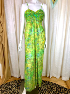 1970's Lemon Lime Pool Dress + Wrap