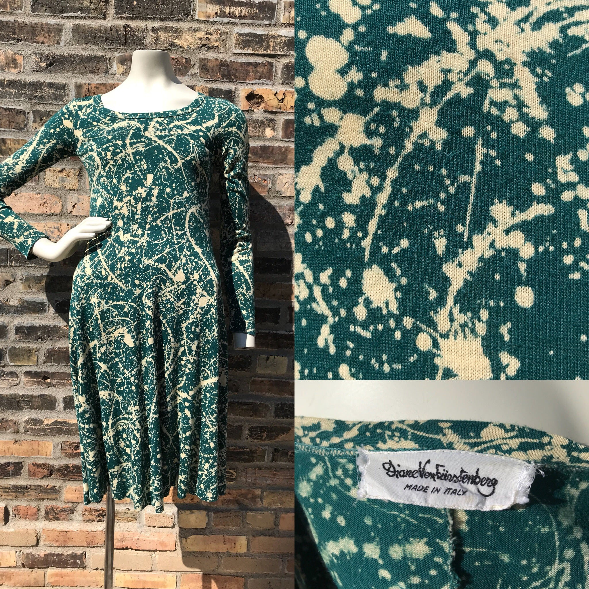 1990's Diane Von Furstenberg Splatter Dress