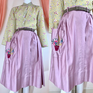 1950's Gathered Skirt with Potted Plant Pocket