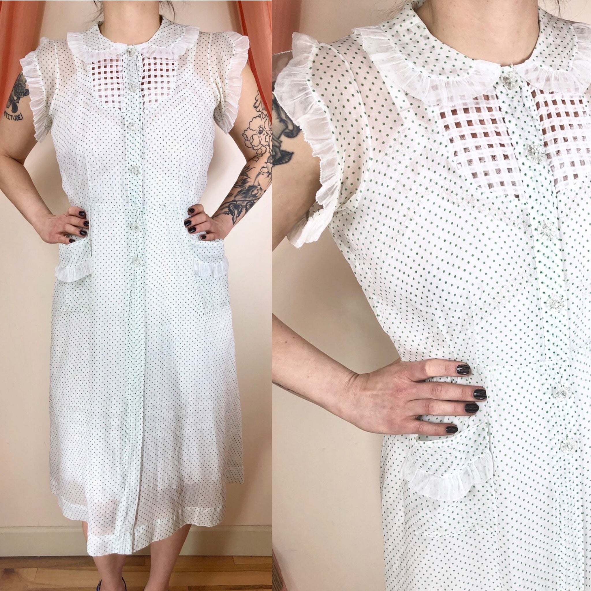 1930's Sheer Polka Dot Morning Dress