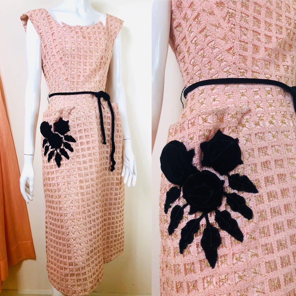 1950's Woven Cocktail Dress with Roses