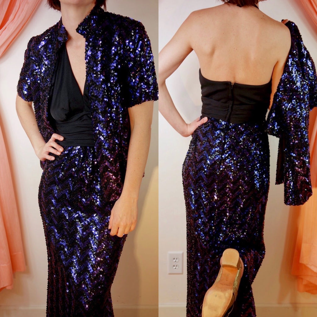 1970's Sequined Maxi Dress + Jacket