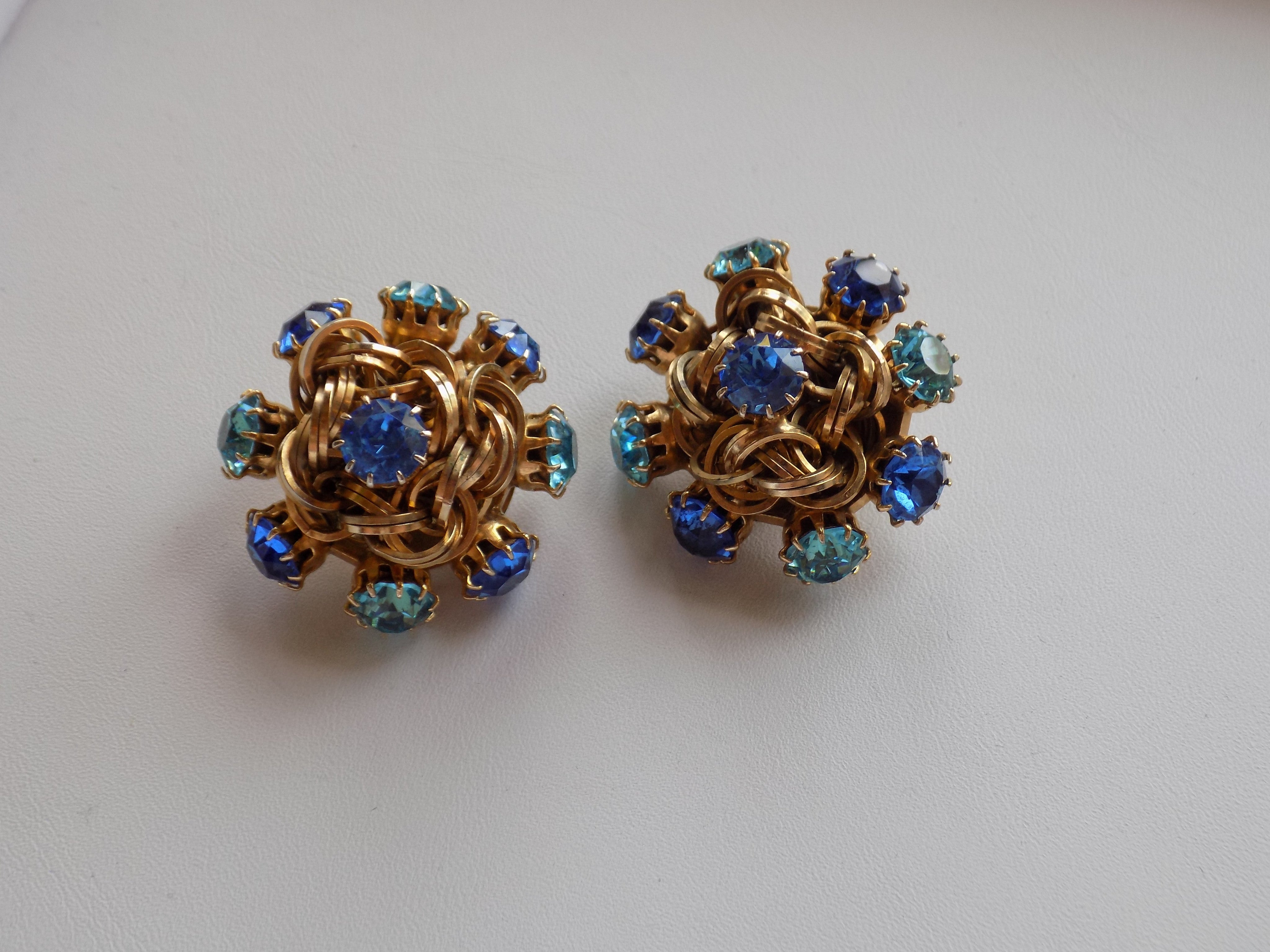 Gold Chain Blue Gem Knot Earrings