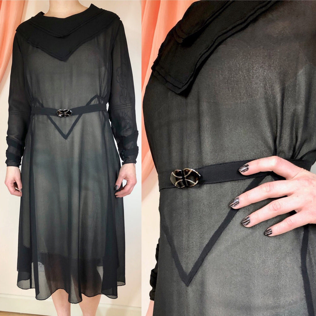 1920's Sheer Pieced Dress with Enamel Belt