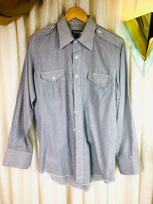 1980's Wrangler Striped Button Down w/ Epaulets