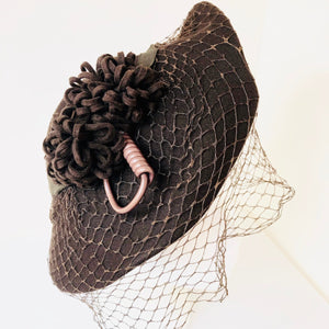 1940's Perched Hat w/ Poms + Netting