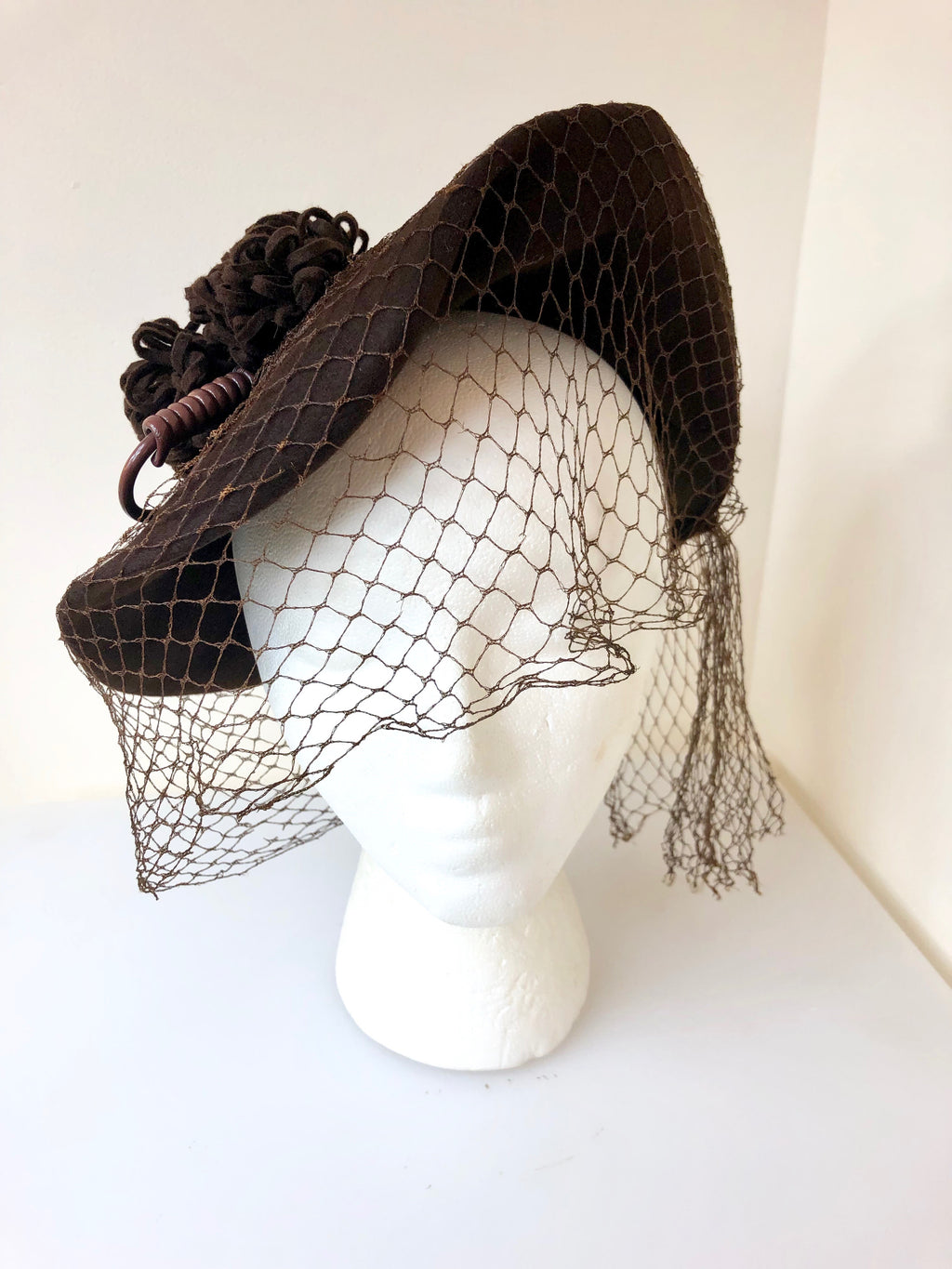 1940s Side Hat w/ Poms + Netting