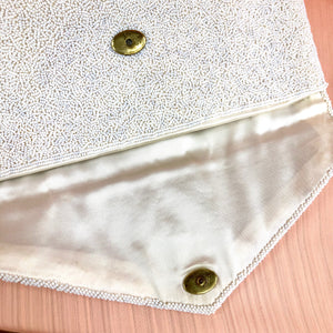 1950's White Beaded Envelope Clutch