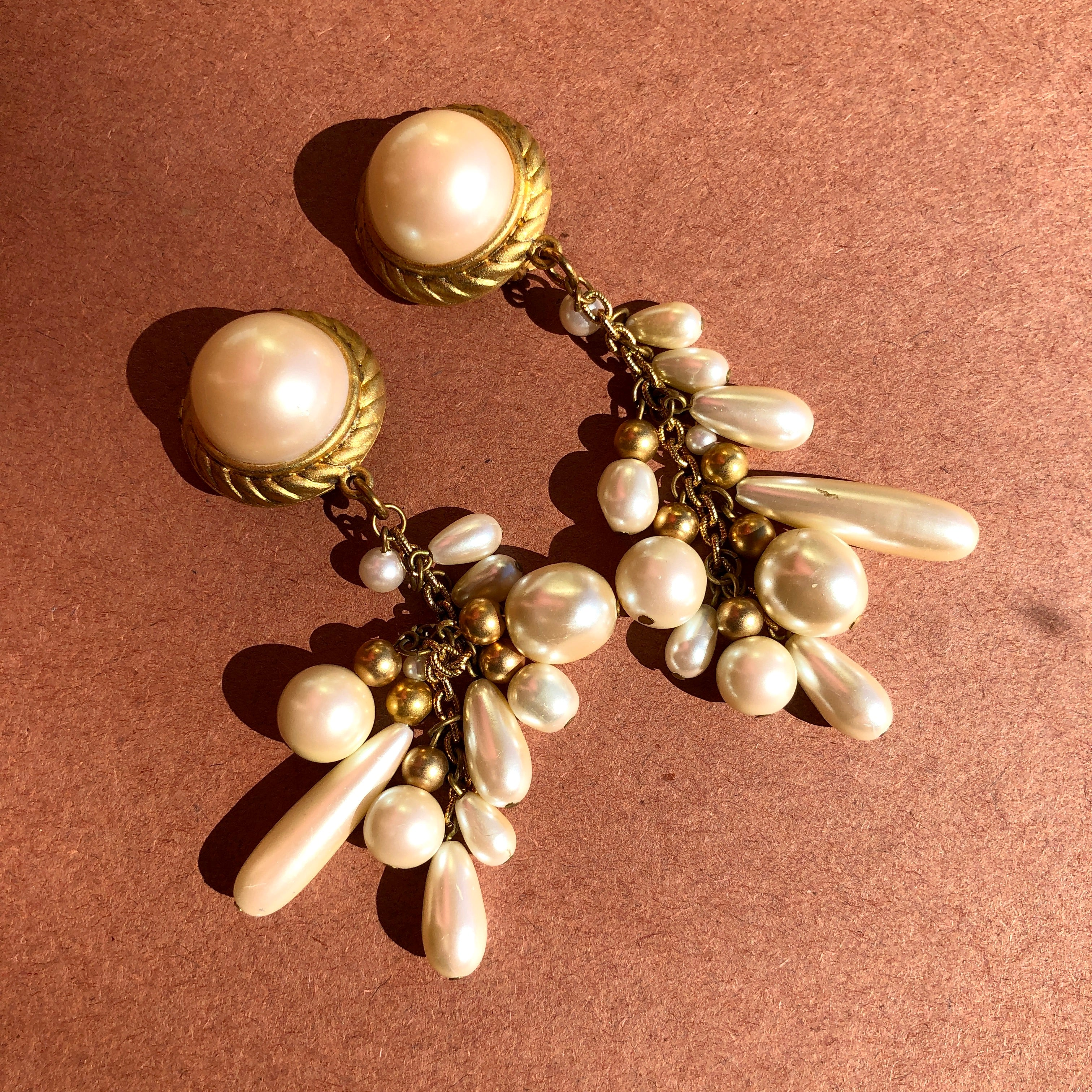 1980's Big Pearl Chandelier Earrings