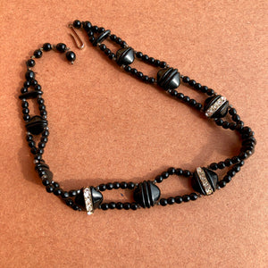 1920's Black Glass Bead Choker
