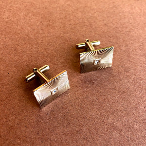1960's Gold Rectangle Carved Burst Cufflinks w/ Gem