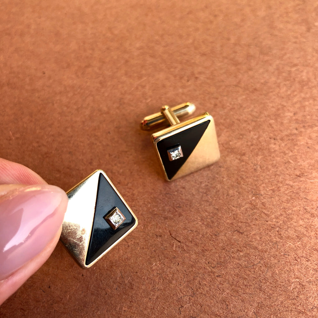 1950's Gold and Black Square Cufflinks