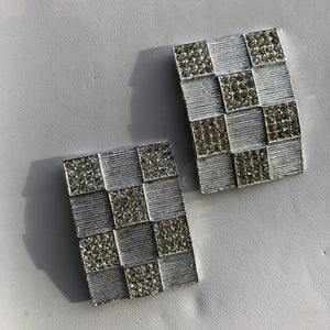 Silver Rhinestone Checkerboard Shoe Clips