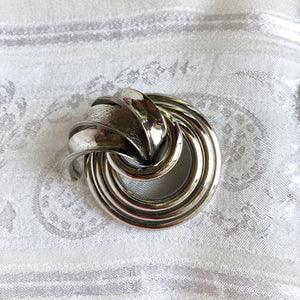 Silver Circles w/ Plume Brooch