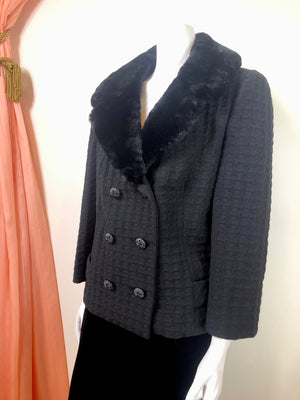 1960's Plisse Jacket w/ Seal Collar