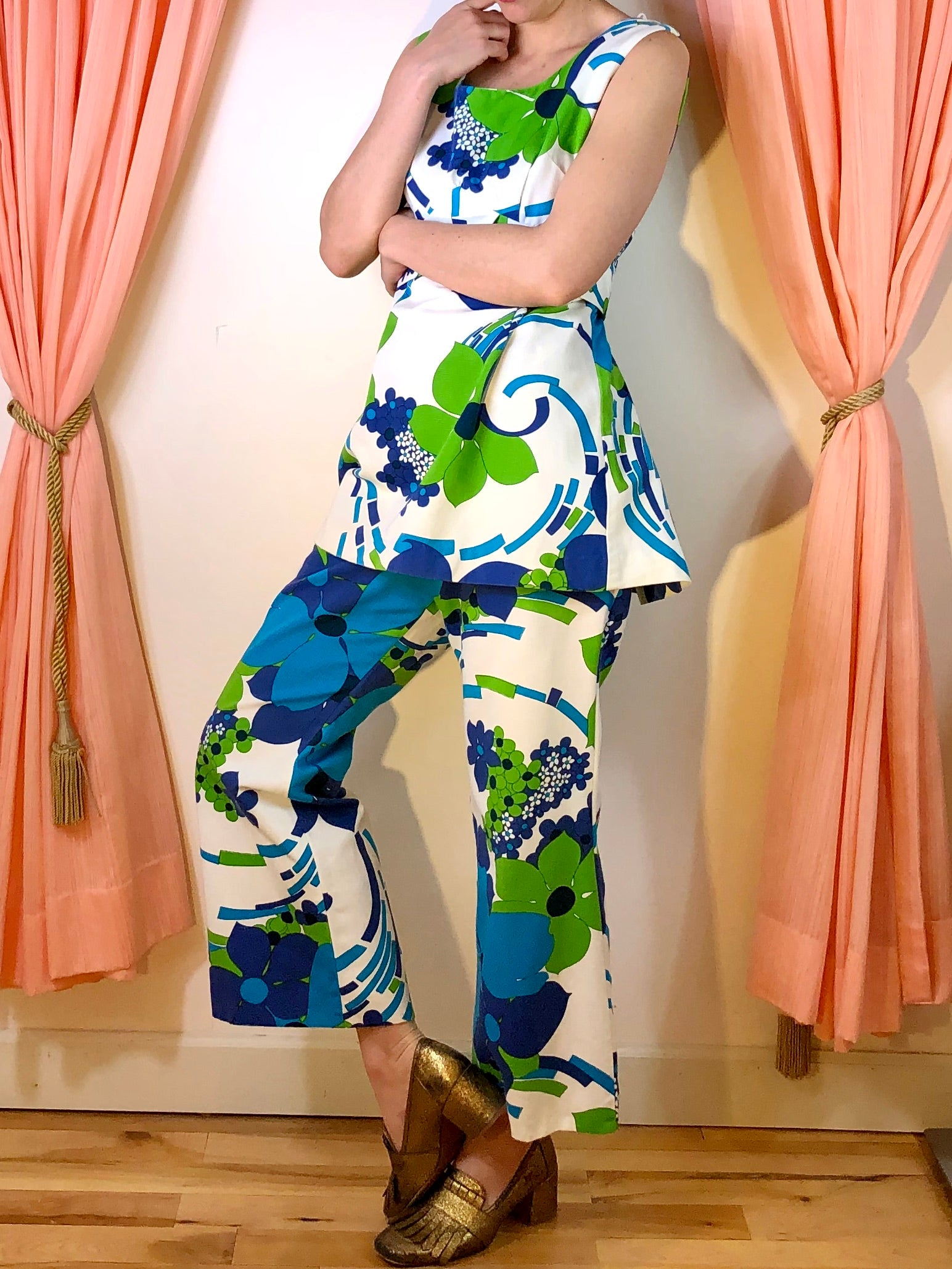 1960's Alfred Shaheen Tunic + Pant Set