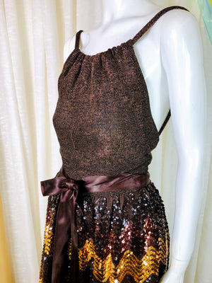 1960's Sequined Chevron Disco Gown
