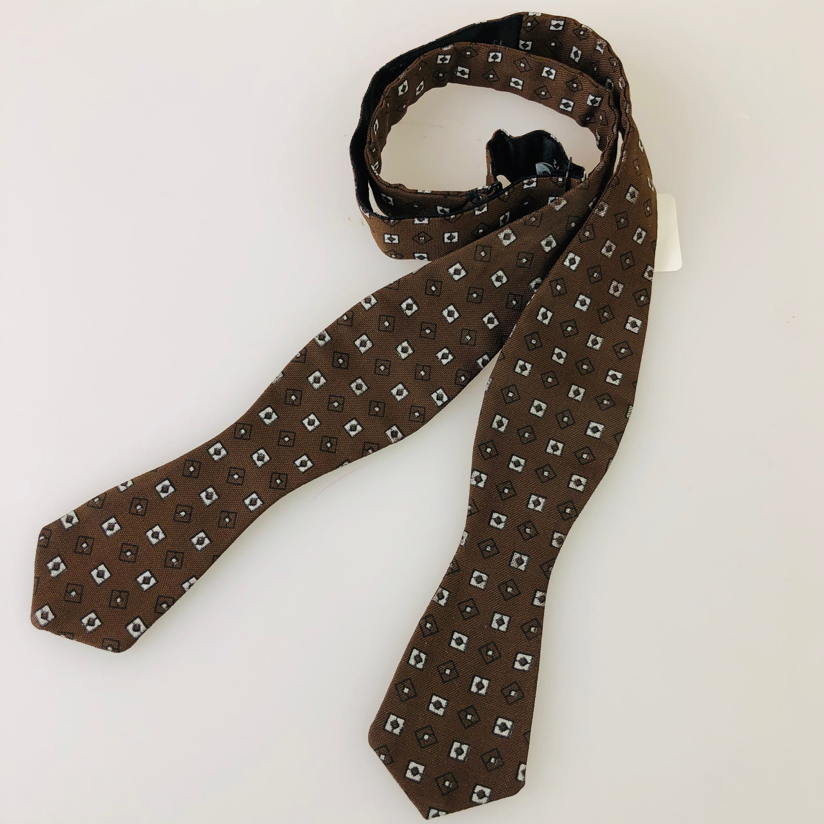 1960s Brown + Grey Box Bowtie