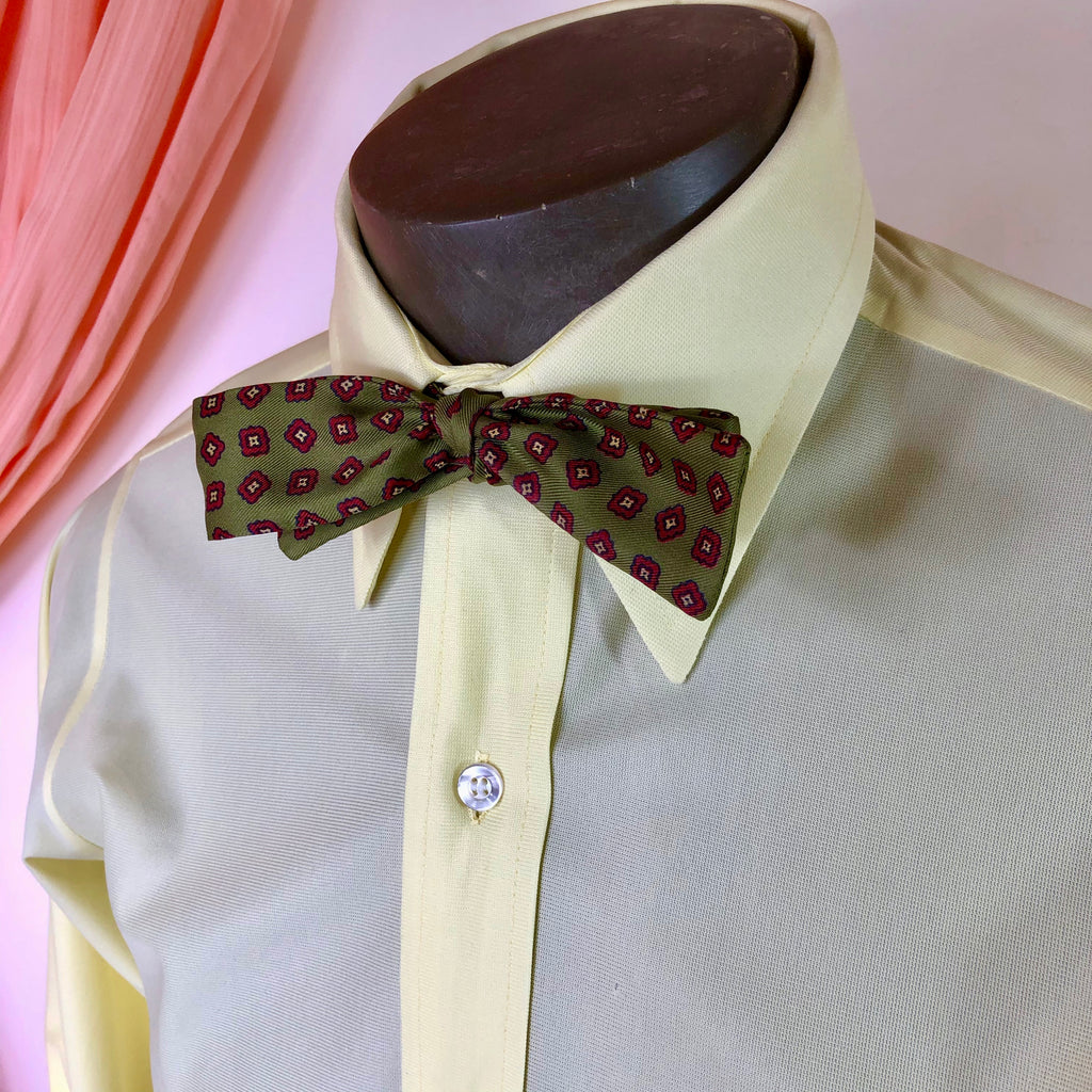 Olive & Red Squares Bowtie