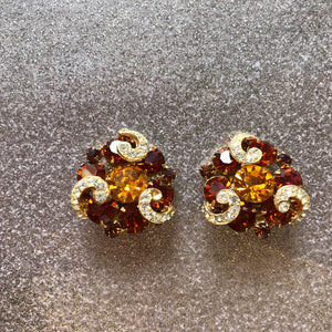 Orange Fancy Gem Earrings