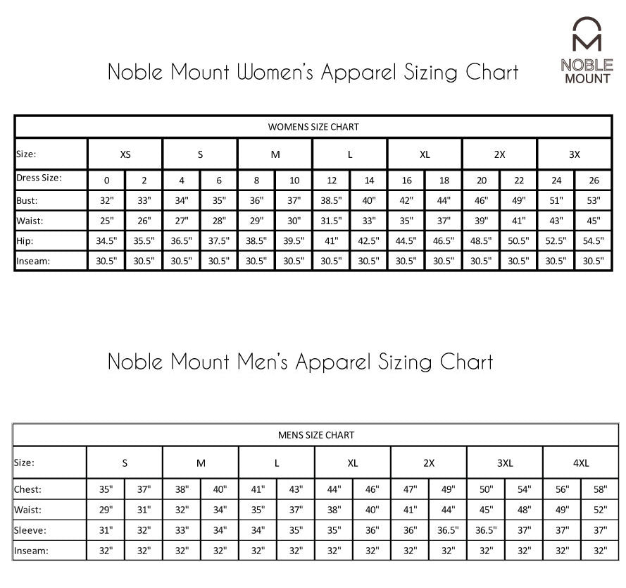 Noble Mount Apparel Size Chart