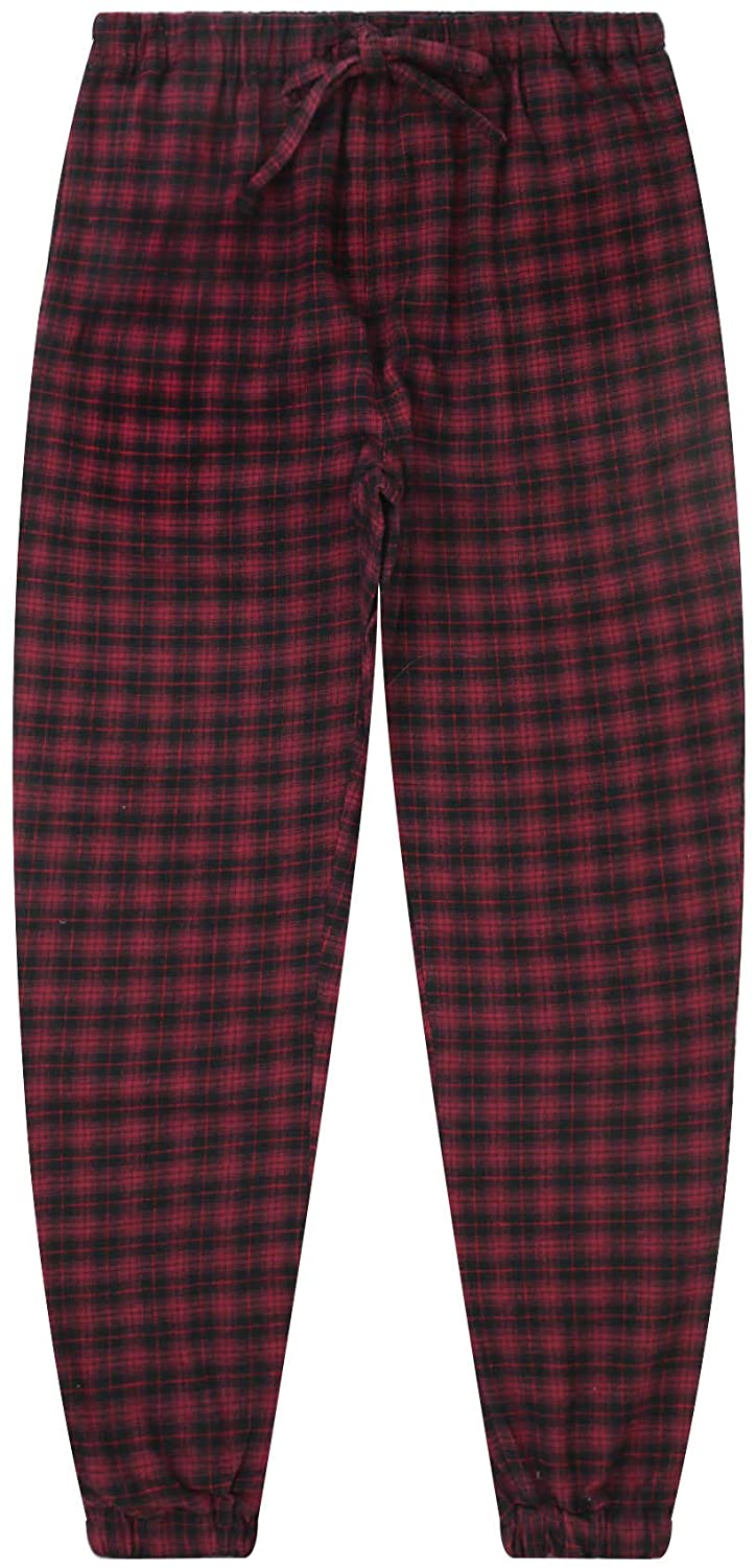 Mens 100% Cotton Flannel Jogger Lounge Pants