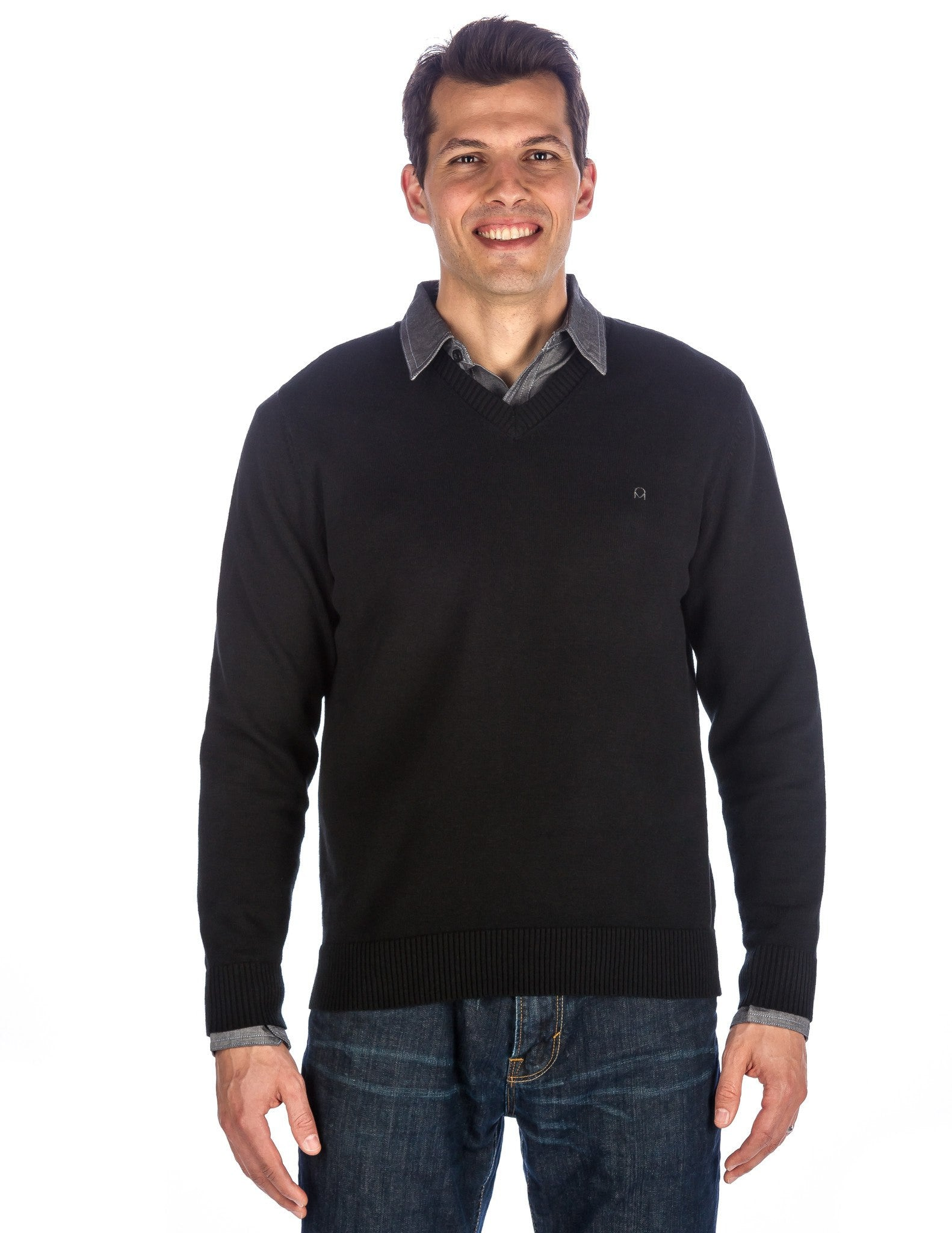 Men's 100% Cotton V-Neck Essential Sweater