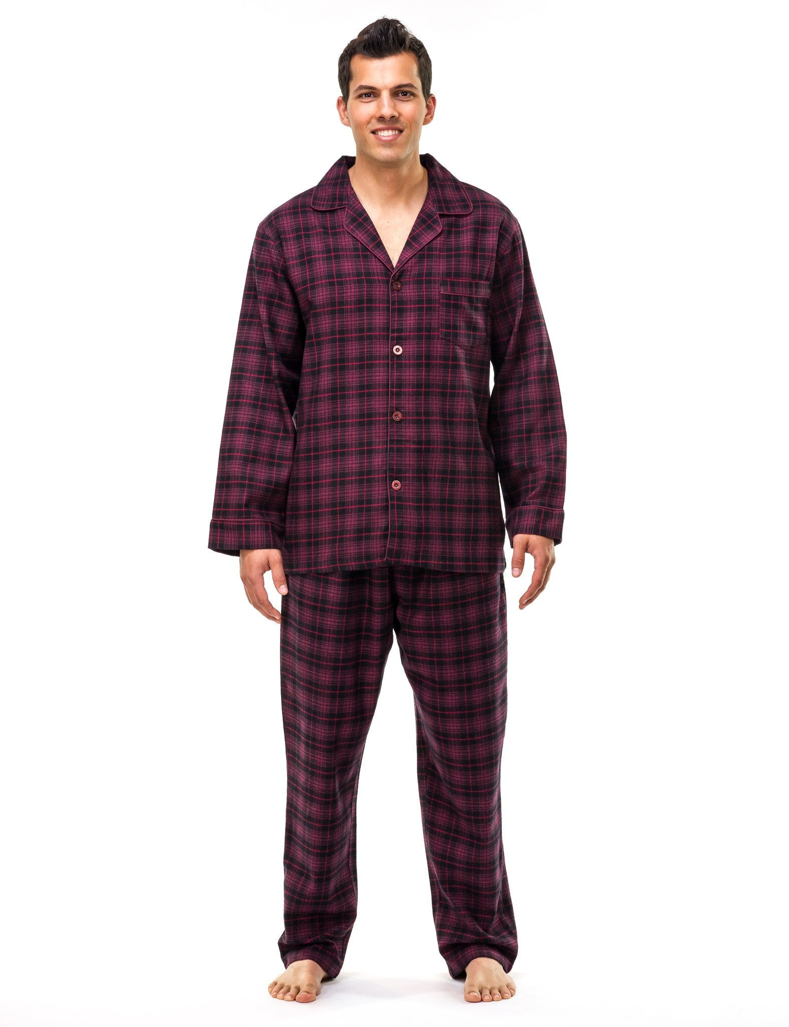 Men's Premium 100% Cotton Flannel Pajama Sleepwear Set (Relaxed Fit)