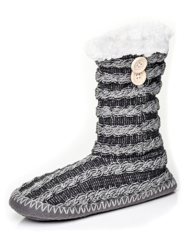 Women's Cable Knit Button Accent Indoor Boot Slippers
